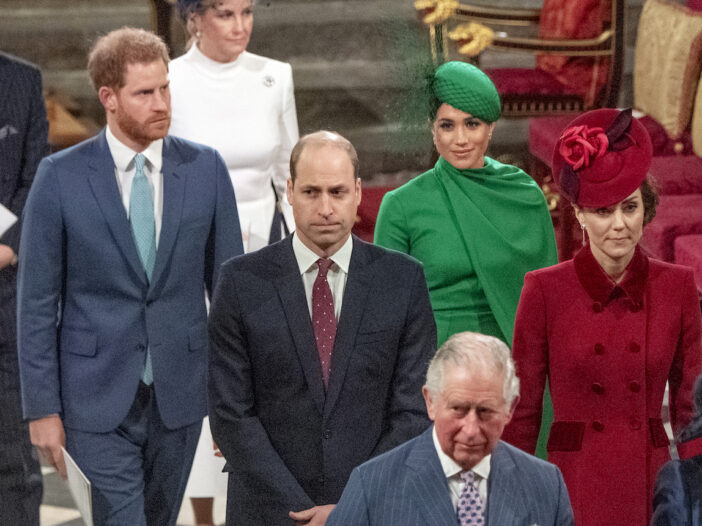 Prince Harry, Meghan Markle, Prince William, Kate Middleton, and Prince Charles at a service