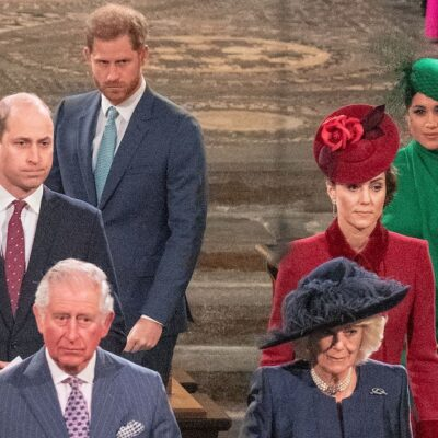 the royal family standing in church