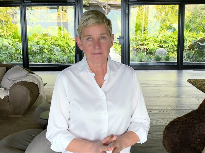 Ellen DeGeneres in a white shirt