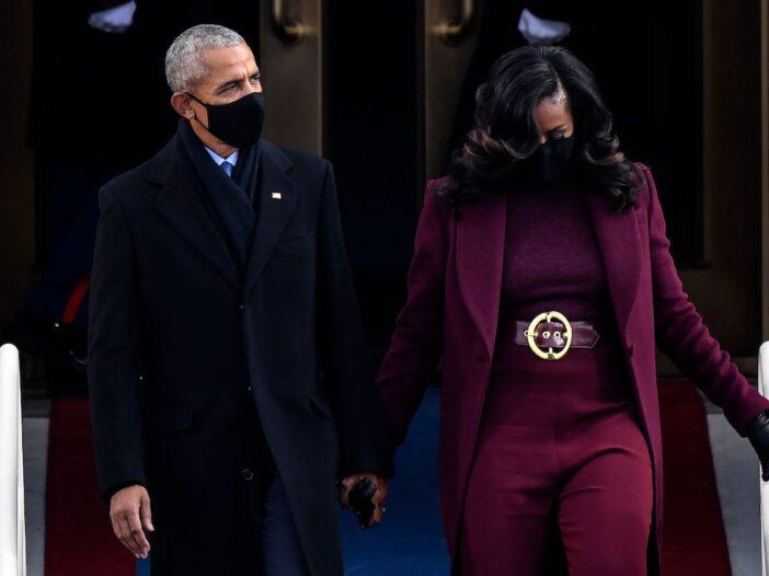 Barack Obama walking with Michelle Obama at the Inauguration of Joe Biden