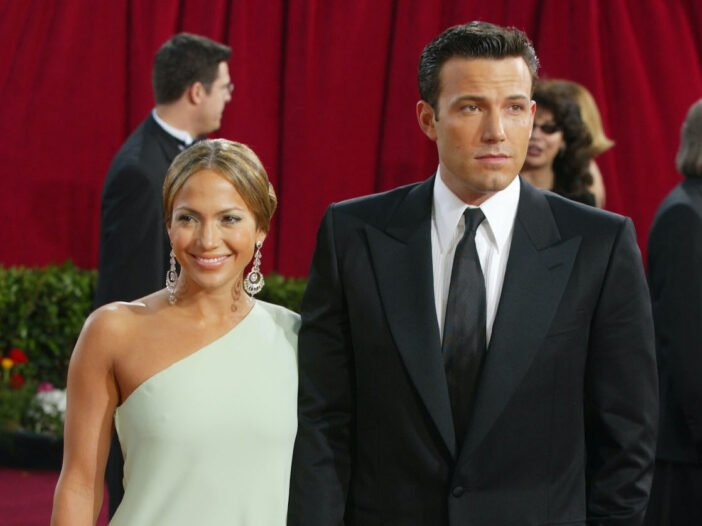 photo of Ben Affleck and Jennifer Lopez on the red carpet in the 2000s