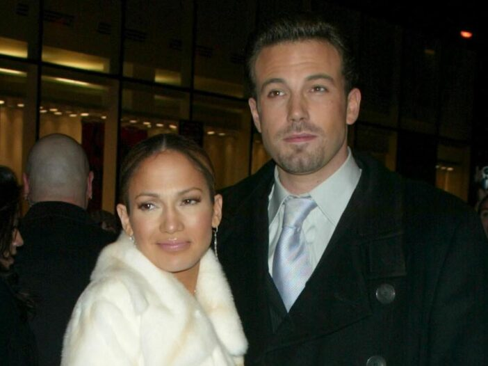 2000s photo of Jennifer Lopez and Ben Affleck on the red carpet