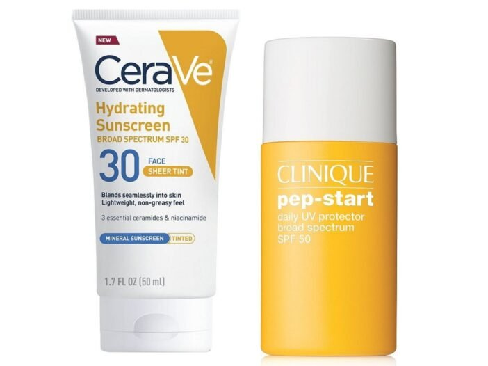 Image of CeraVe mineral sunscreen and Clinique mineral sunscreen.