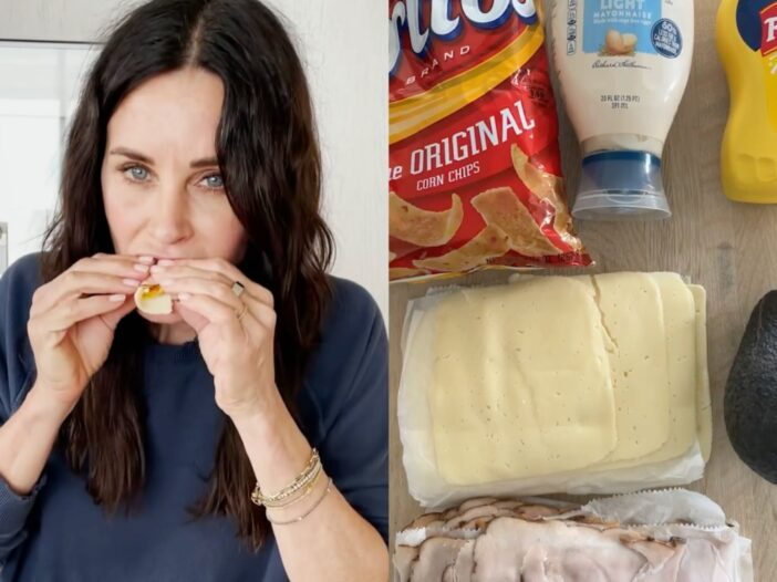 Image of Country Cox eating her Alabama Hand Roll alongside the ingredients used.