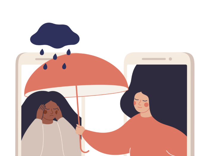 Drawing of one woman holding an umbrella through a phone screen to a crying woman to represent telehealth therapy.