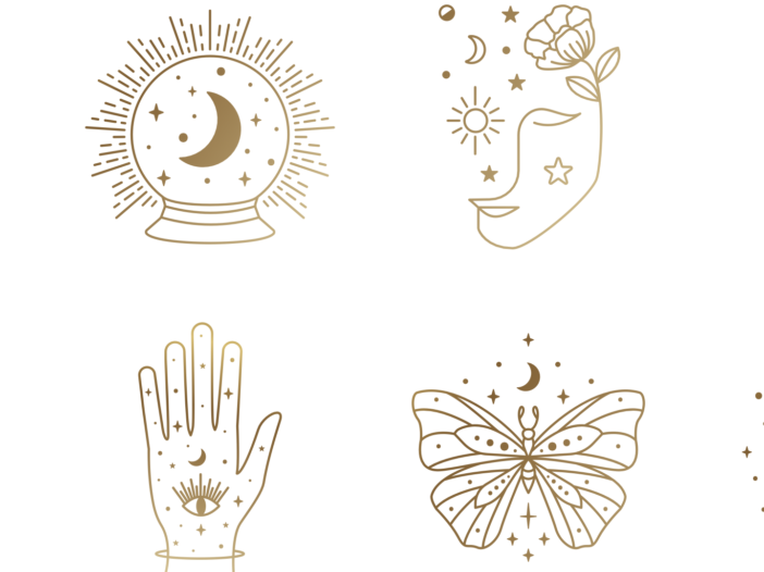 Image of various drawn astrology signs