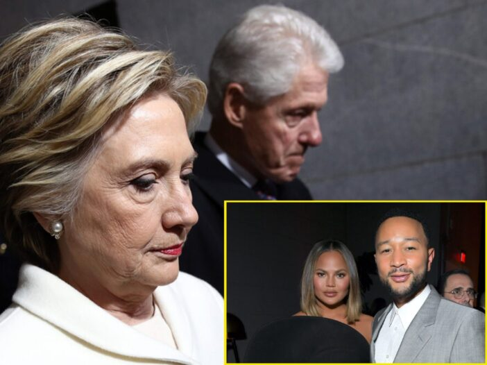 Background of Bill And Hillary Clinton with a photo of John Legend and Chrissy Teigen embedded in the bottom right corner