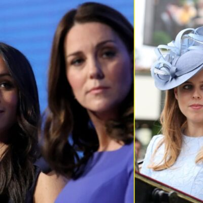 Side by side images of Meghan Markle in the background with Kate Middleton in the foreground blurred and Princess Beatrice.