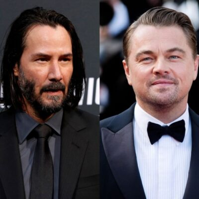 side by side photos of Leonardo DiCaprio and Keanu Reeves