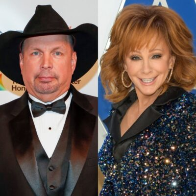 side by side photos of Garth Brooks and Reba McEntire