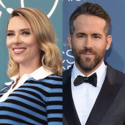 side by side close up photos of Scarlett Johansson and Ryan Reynolds