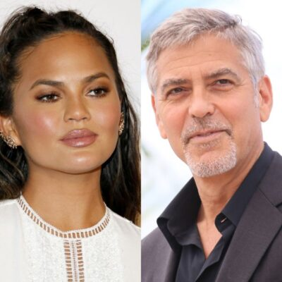 side by side photos of Chrissy Teigen and George Clooney