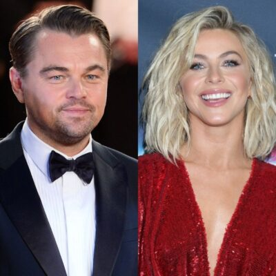 side by side photos of Leonardo DiCaprio and Julianne Hough