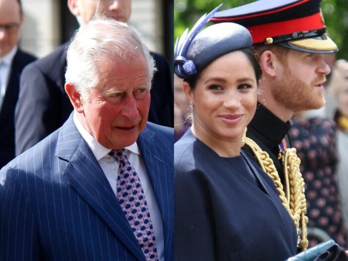 side by side photos of Prince Charles and Meghan Markle and Prince Harry