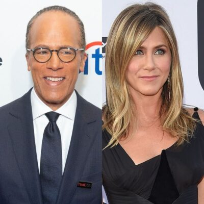 side by side photos of Lester Holt and Jennifer Aniston