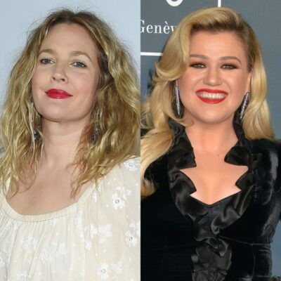 side by side photos of Drew Barrymore and Kelly Clarkson