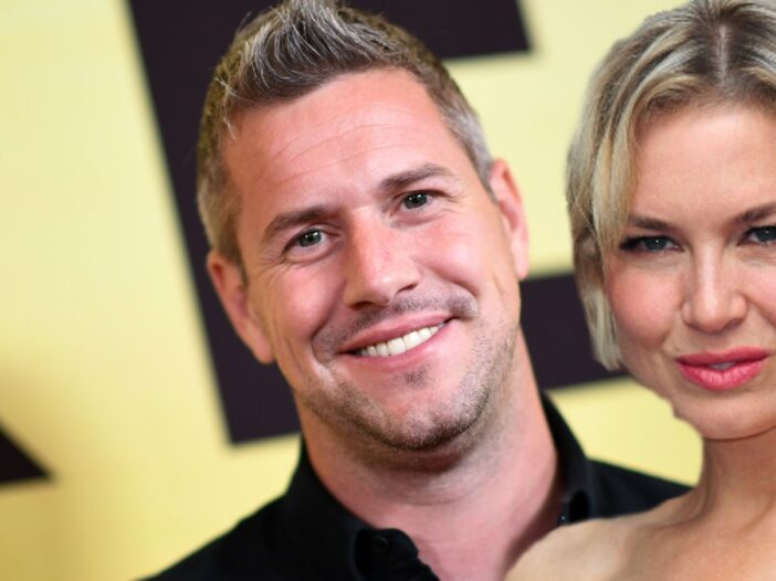 A photo of Ant Anstead on the red carpet with a separate cutout image of Renee Zellweger layered on top