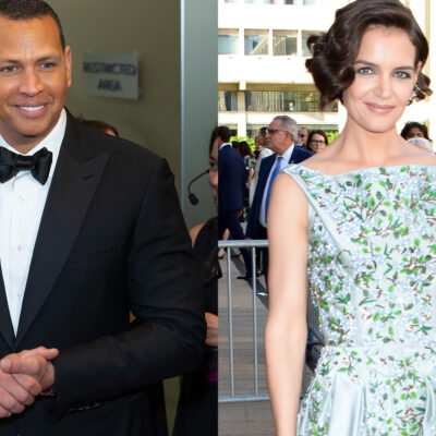 Side by side photos of Alex Rodriguez on the left in a tux and Katie Holmes on the right in a floral dress