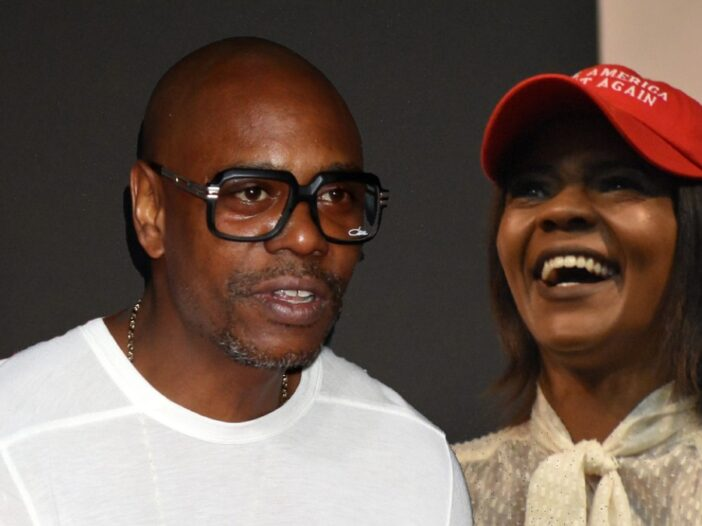 A photo of Dave Chappelle wearing a white shirt over a photo of Candace Owens at a politcal event