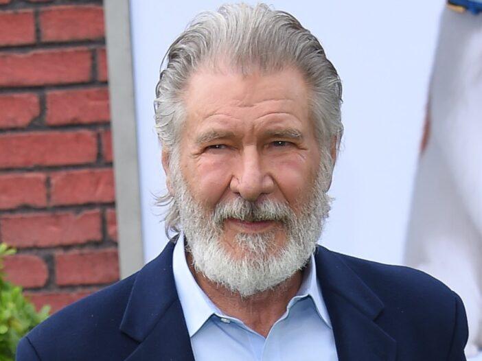 Harrison Ford wears a dark blue suit jacket to a movie premiere