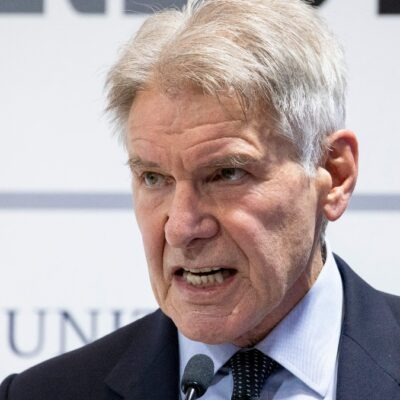 Harrison Ford makes a passionate speech at a climate change conference