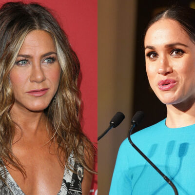 side-by-side photos or Jennifer Aniston and Meghan Markle (right)
