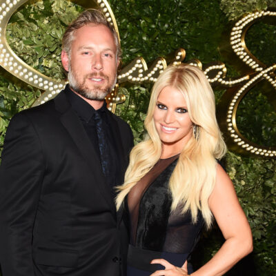 Jessica Simpson on the right, standing with her husband Eric Johnson