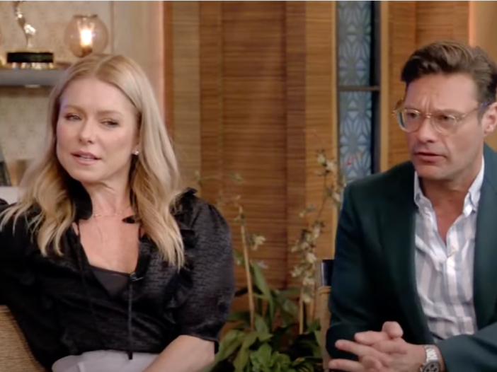 Kelly Ripa and Ryan Seacrest sit side-by-side in a recent episode of their hit daytime talk show