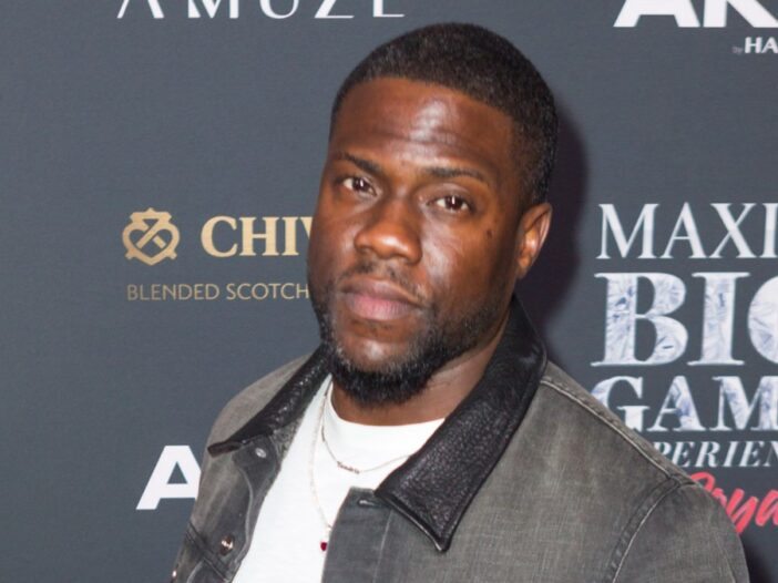 Kevin Hart wears a gray jacket on the red carpet