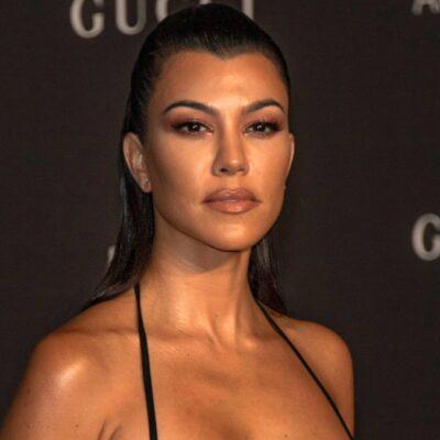 Kourtney Kardashian wears a little black dress on the red carpet