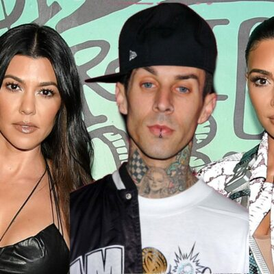 A photo of Travis Barker is layered over a picture of Kourtney and Kim Kardashian