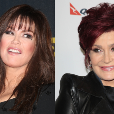 (Left) Marie Osmond wears a black dress and looks over to the side. (Right) Sharon Osbourne wears a black jacket and smiles as she looks to the side
