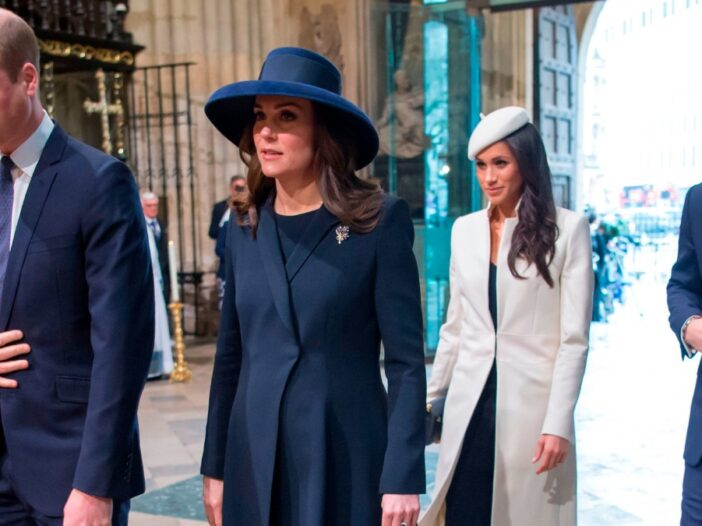 Prince William, Kate Middleton, Meghan Markle, and Prince Harry walk inside a church