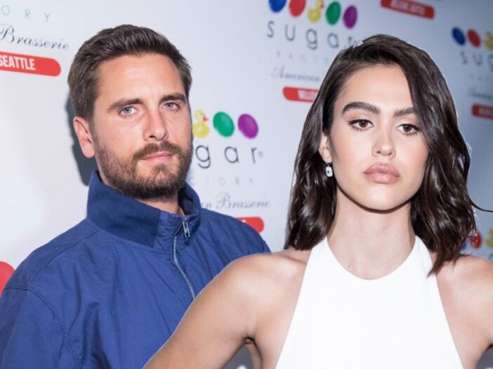 Background: Scott Disick leans against a white backdrop. Foreground: Amelia Hamlin wears a white dress