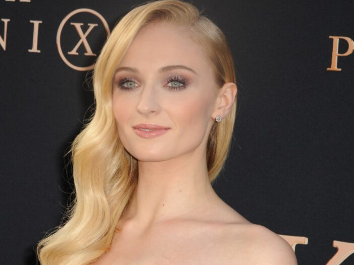 Sophie Turner wears a strapless gown at the premiere of Dark Phoenix