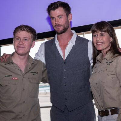 From right to left: Robert Irwin, Chris Hemsworth, Terri Irwin