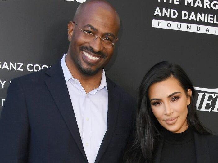 Van Jones and Kim Kardashian, both in black, stand before a black background