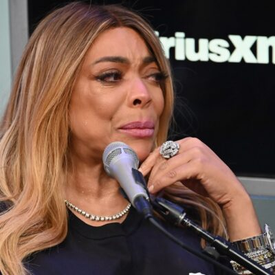 Wendy Williams wears a black top during a SiriusXM interview