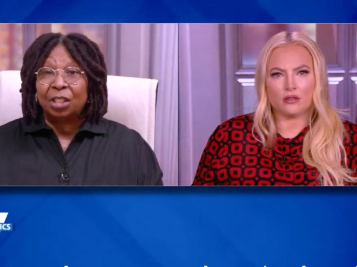 A screenshot of a recent episode of The View with Whoopi Goldberg (left) and Meghan McCain (right)