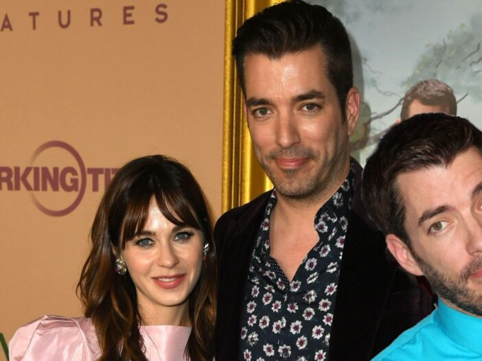 Zooey Deschanel and Jonathan Scott pose together on the red carpet. A separate photo of Drew Scott is overlaid on top