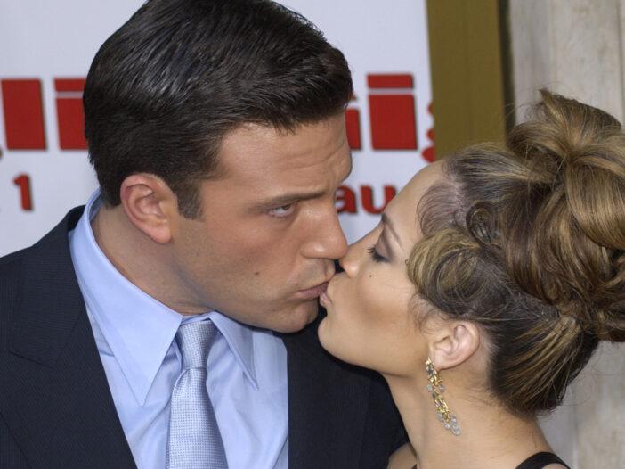 Ben Affleck on the left, kissing Jennifer Lopez