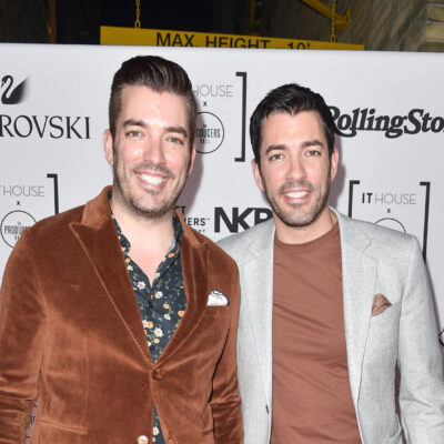 Jonathan and Drew Scott of the Property Brothers at a red carpet event.