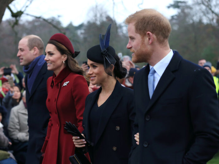 Prince William, Kate Middleton, Meghan Markle, and Prince William together outside