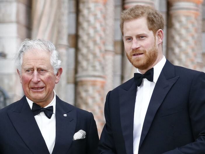 Prince Charles and Prince Harry in tuxedos