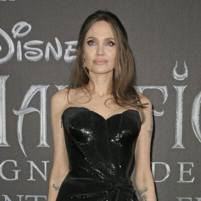 Angelina Jolie in a shiny black dress