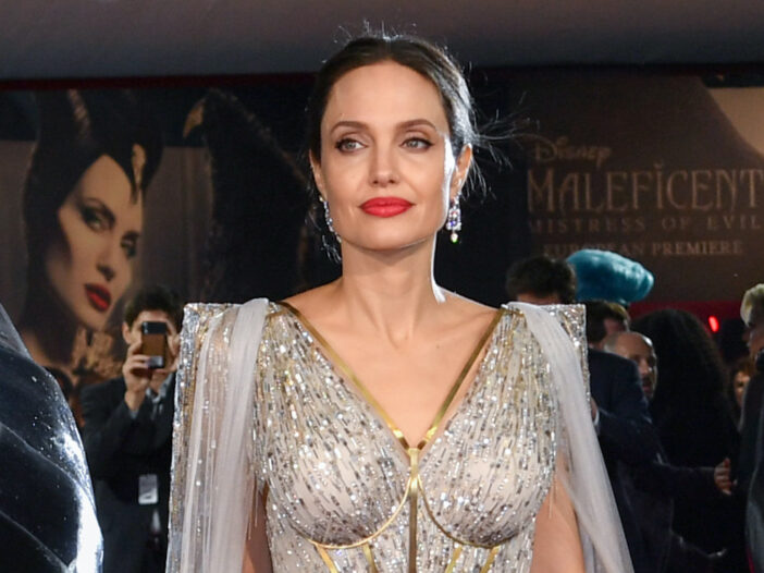 Angelina Jolie in a white silver dress