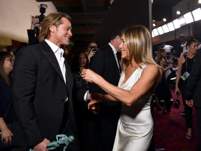 Brad Pitt and Jennifer Aniston hugging