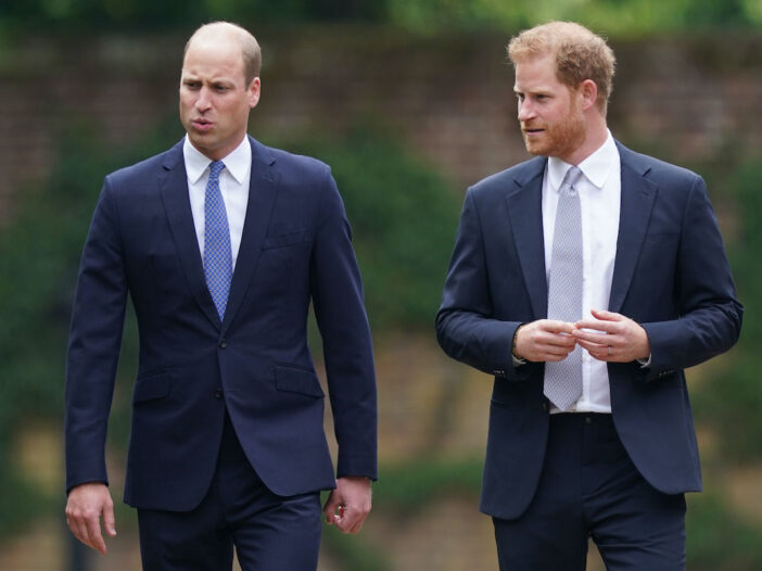 Prince William and Prince Harry, both in blue suits, walk together