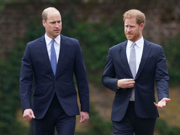 Prince Harry and Prince William walking together in navy suits