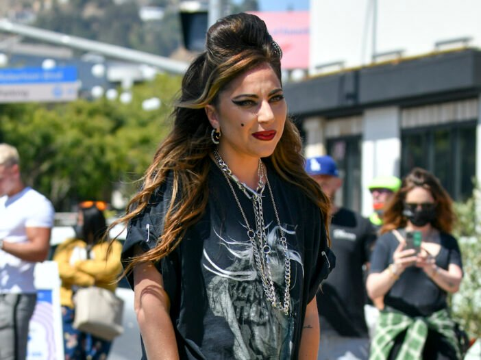 Lady Gaga in a Born This Way tshirt with her hair up
